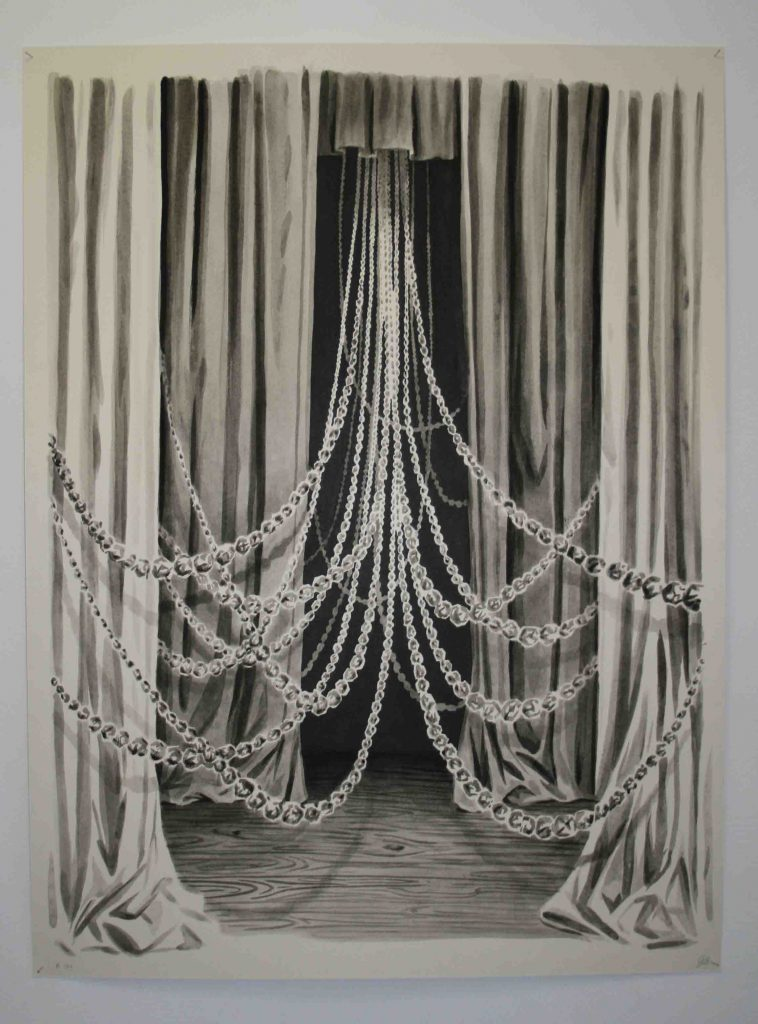 Andreas Chwatal, Zug fährt, 2007, Pinsel, Tusche, laviert auf Papier, 100 x 70 cm.