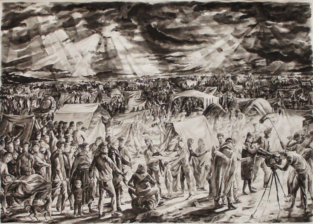 B4 Zeltlager / E21 Entgrenzung nach Frankreich, 2016, Pinsel, Tusche, laviert auf Papier, 71,4 x 100 cm.