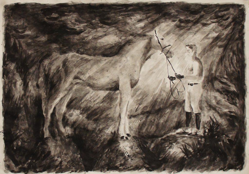 Andreas Chwatal, B17 Reflections in a golden eye / E21 Entgrenzung nach Frankreich, 2016, Pinsel, Tusche, laviert auf Papier, 42 x 59,5 cm