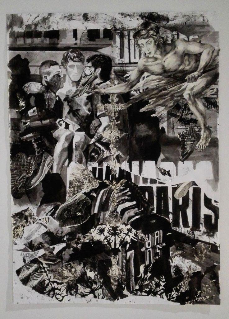 Andreas Chwatal, Bataclan, 2016, Collage, Tusche, Papier, 246 x 177 cm